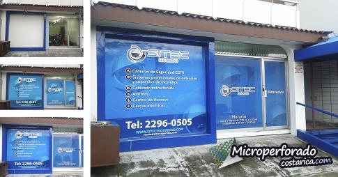 Proyecto Sitec - vinil adhesivo en pared y microperforado en ventanas